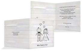 Einladungskarte zur Hochzeit Sweet Love - Weiß (K24)