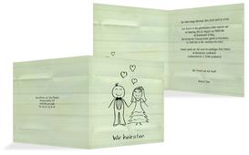 Einladungskarte zur Hochzeit Sweet Love - Grün (K24)