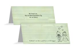 Tischkarte zur Hochzeit Sweet Love - Grün (K32)
