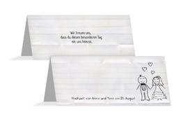 Tischkarte zur Hochzeit Sweet Love - Weiß (K32)