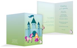Einladung zum Kindergeburtstag Märchenprinzessin - Türkis (K20)