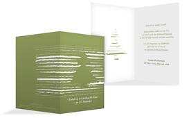 Weihnachts Einladungskarte privat Kreidentanne - Grün (K20)