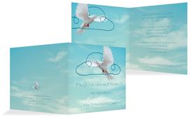 Einladungskarte Hochzeit Auf Wolke sieben - Hellblau (K24)