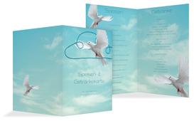Menükarte Hochzeit Auf Wolke sieben - Hellblau (K38)
