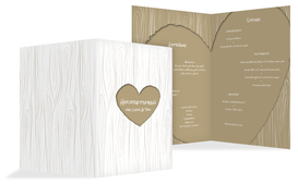 Hochzeits Menükarte heart bark - Braun (K38)