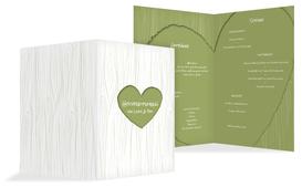 Hochzeits Menükarte heart bark - Grün (K38)