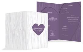 Hochzeits Menükarte heart bark - Lila (K38)