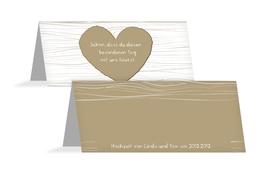 Hochzeits Tischkarte heart bark - Braun (K32)