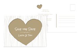 Hochzeits Save the Date heart bark - Braun (K25)