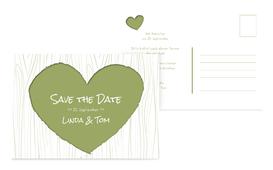Hochzeits Save the Date heart bark - Grün (K25)