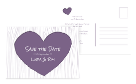 Hochzeits Save the Date heart bark - Lila (K25)