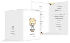 Menükarte Taufe Kerzenschein - Weiß (K38)