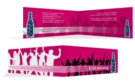 Einladungskarte Geburtstag Disco - Pink (K33)