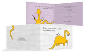 Geburtstagseinladung Dino - Gelb (K19)