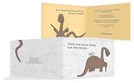 Geburtstagseinladung Dino - Braun (K19)