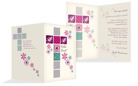 Dankeskarte Kommunion Florales Kreuz - Pink (K20)