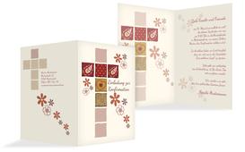 Einladung Zur Konfirmation Florales Kreuz   Rot (K20)