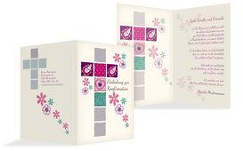 Einladung zur Konfirmation Florales Kreuz - Pink (K20)