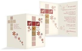Dankeskarte Konfirmation Florales Kreuz - Rot (K20)