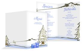 Menükarte Weihnachten Scribble - Hellblau (K38)
