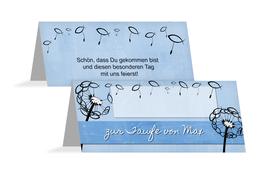 Tischkarte Taufe Pusteblume - Hellblau (K32)