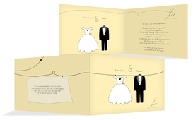 Einladungskarte dress and suit - Champagne (K19)