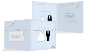 Einladungskarte dress and suit - Hellblau (K24)