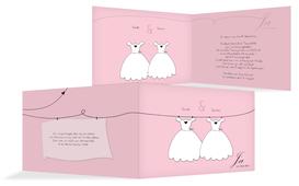 Einladung Hochzeit dresses - Rosa (K19)