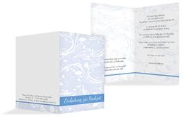 Einladungskarte Blättertraum 2 - Blau (K20)