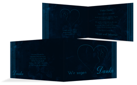 Dankeskarte zur Hochzeit Liebespaerchen - Dunkelblau (K19)