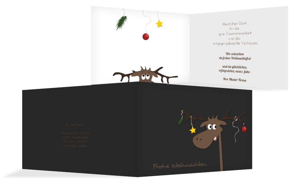 weihnachts gru karte gesch ftlich elch kartenmanufaktur. Black Bedroom Furniture Sets. Home Design Ideas