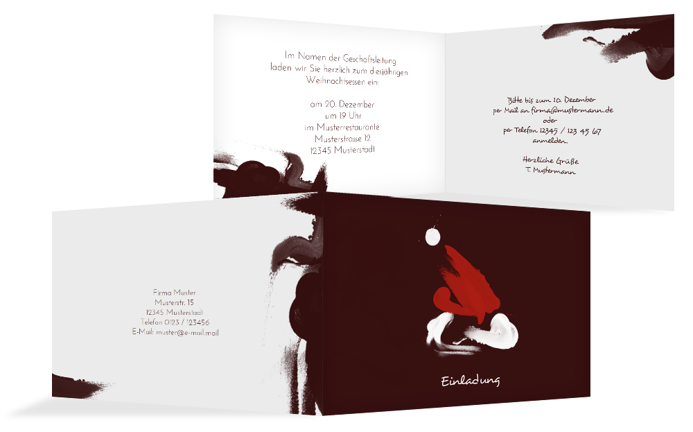 weihnachts einladungskarte gesch ftlich farbenm tze. Black Bedroom Furniture Sets. Home Design Ideas