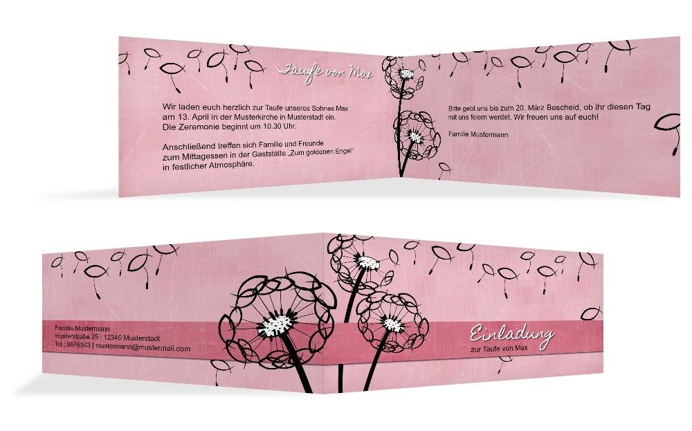 Einladungskarten Taufe Einladungskarten Taufe Zum: Einladungskarte Taufe Pusteblume
