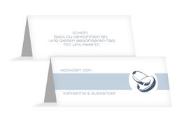 Tischkarte Hochzeit Ringeband - Hellblau (K32)