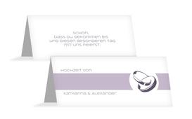 Tischkarte Hochzeit Ringeband - Lila (K32)