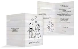 Einladungskarte zur Hochzeit Sweet Love - Weiß (K20)