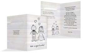 Danksagungskarte zur Hochzeit Sweet Love - Weiß (K20)