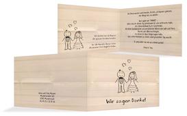 Danksagungskarte zur Hochzeit Sweet Love - Orange (K19)