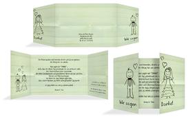 Danksagungskarte zur Hochzeit Sweet Love - Grün (K39)