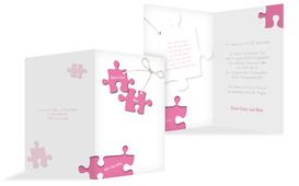 Einladungskarte Puzzleteile 2 - Pink (K20)