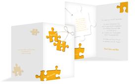 Einladungskarte Puzzleteile 2 - Gelb (K20)