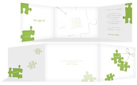 Einladungskarte Puzzleteile 2 - Grün (K21)