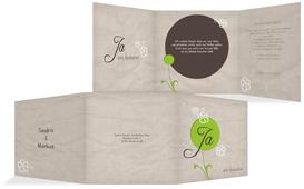Hochzeitskarte Einladung Fantasyflower 2 - Grün (K23)