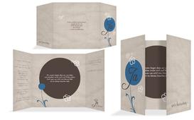 Hochzeitskarte Einladung Fantasyflower 2 - Blau (K40)