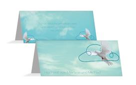 Tischkarte Hochzeit Auf Wolke sieben - Hellblau (K32)