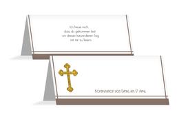 Tischkarte zur Konfirmation Gebetbuch - Braun (K32)
