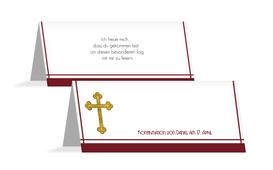 Tischkarte zur Konfirmation Gebetbuch - Rot (K32)