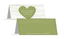 Hochzeits Tischkarte heart bark - Grün (K32)