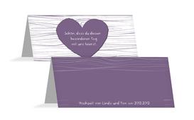 Hochzeits Tischkarte heart bark - Lila (K32)