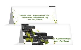 Tischkarte Konfirmation Efeu - Weiß (K32)